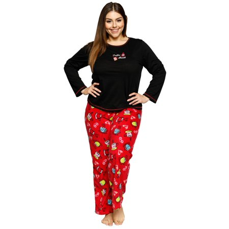 Xehar Women's Plus Size Comfy Soft Coffee Break Pajama Pjs Sleepwear Set