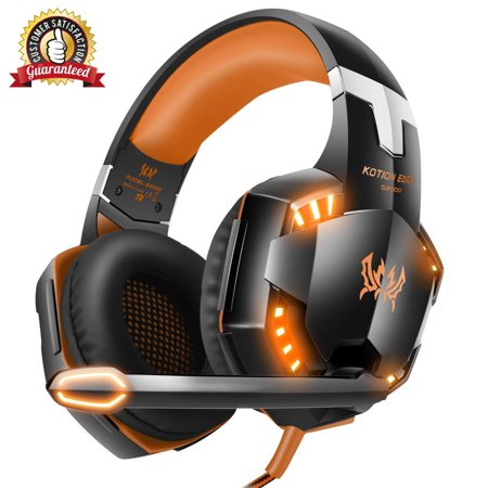 Stereo Gaming Headset for PS4, PC, Xbox One Controller, Noise Cancelling Over Ear Headphones with Mic, LED Light, Bass Surround, Soft Memory Earmuffs for Laptop Mac Nintendo Switch