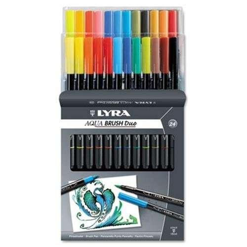 Lyra Dual Tip Marker, Assorted, 24 Per Pack - Fine, Broad Marker Point Type - Brush Marker Point Style - Assorted Ink - 24 / Pack (6521240)