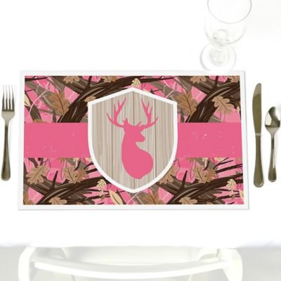 Camouflage Table Decorations (Pink Gone Hunting - Party Table Decorations - Deer Hunting Camo Baby Shower or Birthday Party Placemats - Set of)