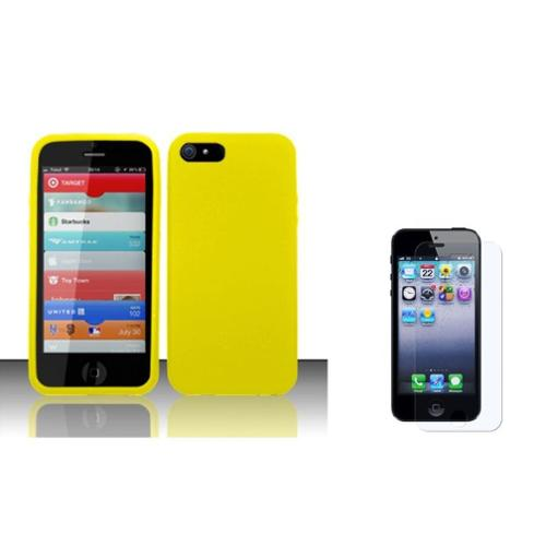 Insten Soft Rubber Case + Screen Protector For Apple iPhone SE 5/5S - Yellow