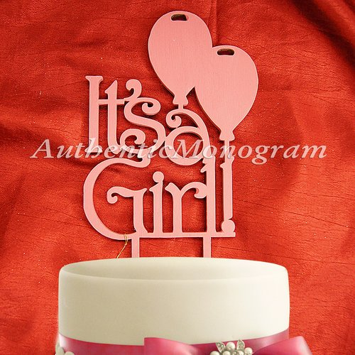aMonogram Art Unlimited Its A Girl Wooden Cake Topper