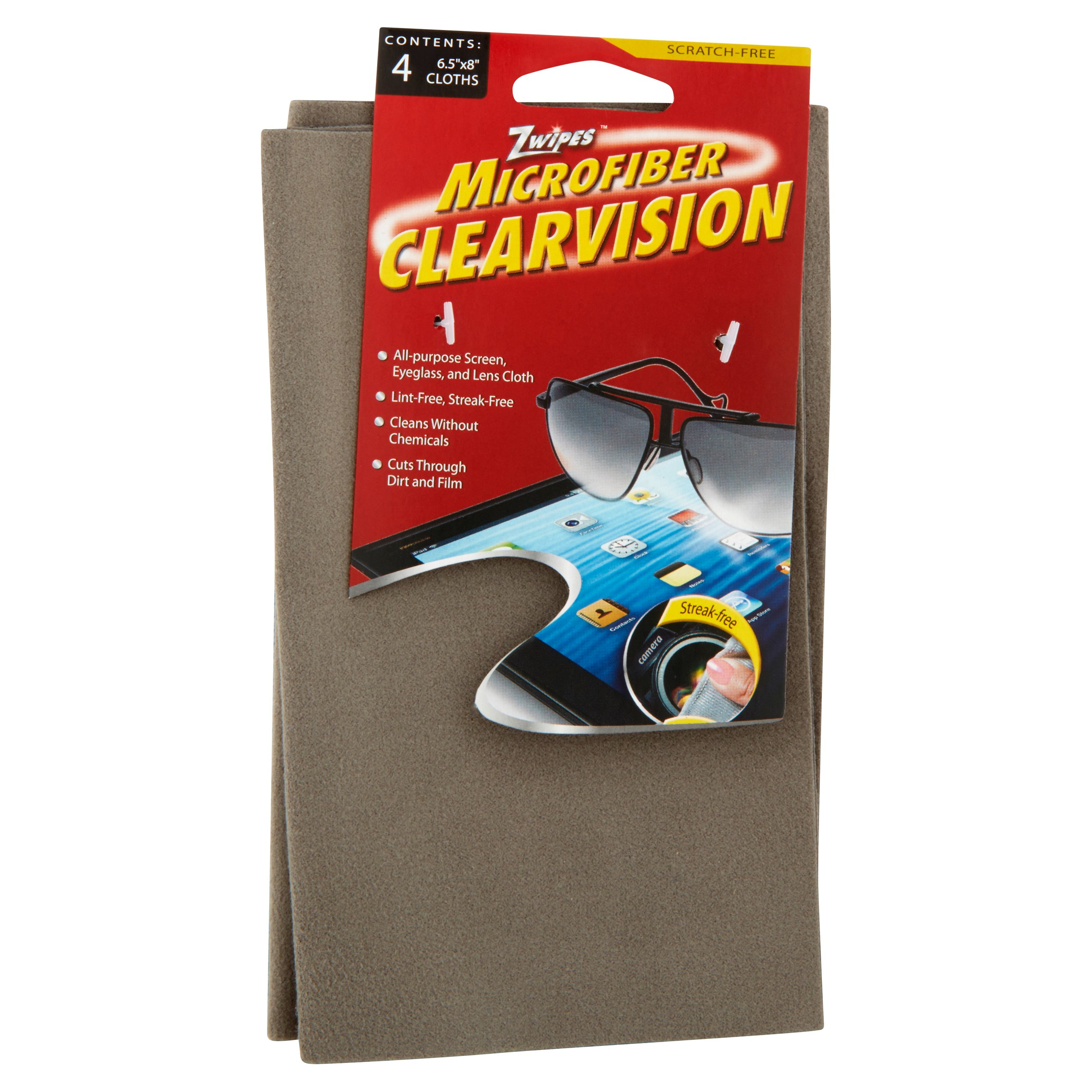 Zwipes Microfiber Clearvision All-Purpose Screen, Eyeglass and Lens Cloth, 4 count