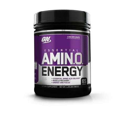 Optimum Nutrition Amino Energy Pre Workout + Essential Amino Acids Powder, Concord Grape, 65