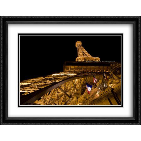Eiffel Tower Of The Paris Las Vegas Hotel 2X Matted 36X28 Large Black Ornate Framed Art Print By The Cityscape Art Print Series