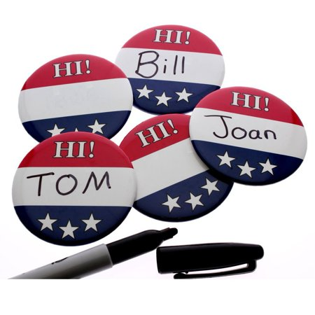 Name Badge Button Pins Write-on Hi! Patriotic Colors (Pkg of 24)