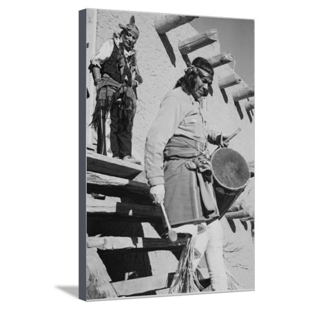 Indian Descending Wooden Stairs With Drum, Dance San Ildefonso Pueblo New Mexico 1942 Stretched Canvas Print Wall Art By Ansel Adams