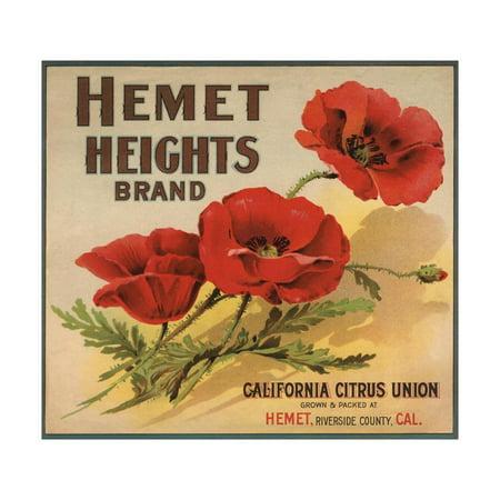 Hemet Heights Brand - Hemet, California - Citrus Crate Label Print Wall Art By Lantern Press ()