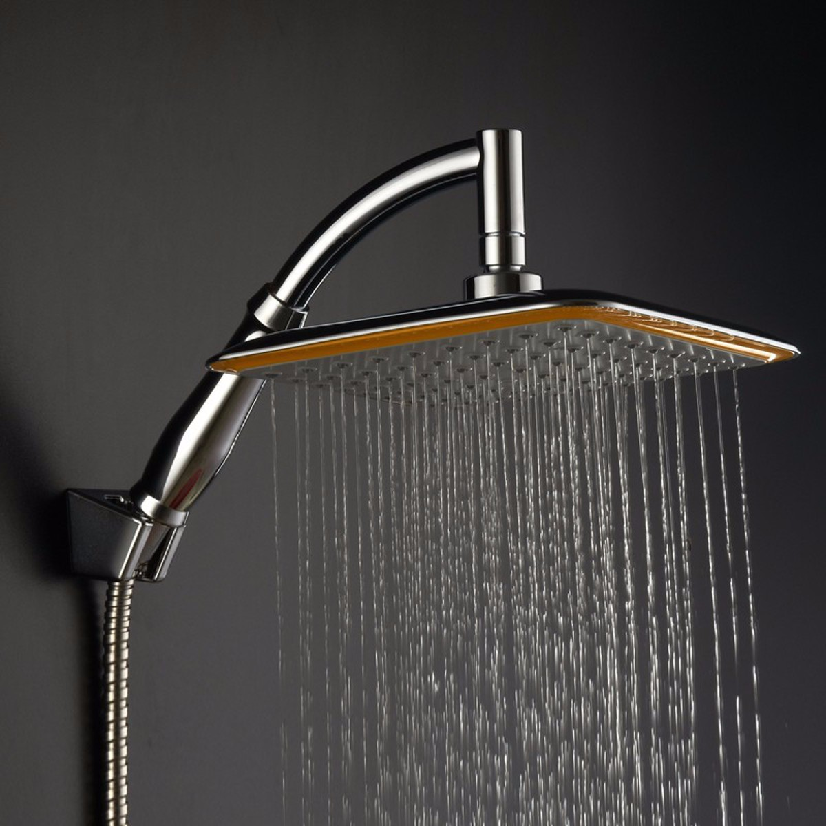 Chrome ABS Rainfall Shower Head Faucet Home & Kitchen Extension with Shower Arm and Hose Kit