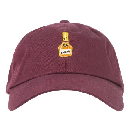 a3fbc13bb ANY MEMES HENNY BOTTLE DAD HAT STRAPBACK CURVED BILL CAP BURGUNDY UNISEX