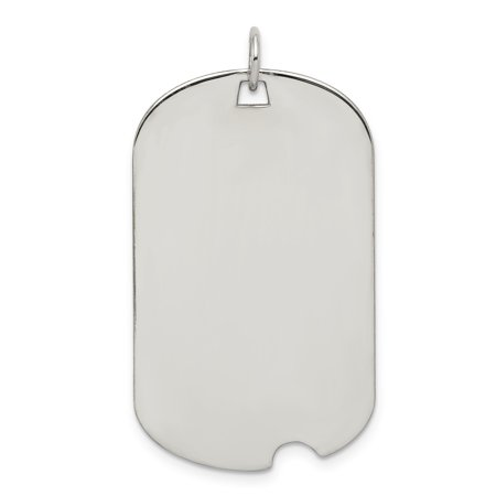 Solid 925 Sterling Silver Engraveable Dog Tag Disc Pendant (Length:44mm Width:21mm)