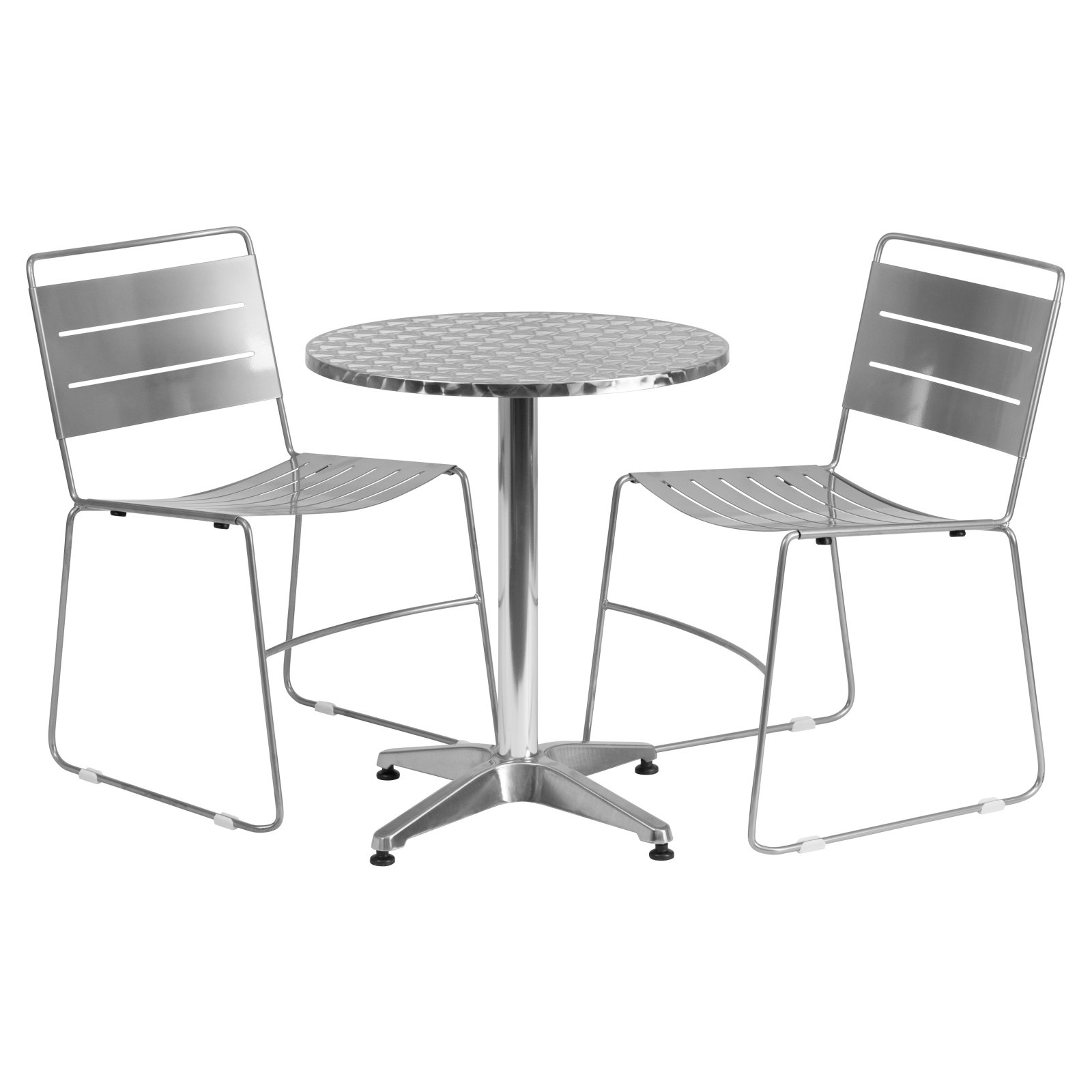 "Flash Furniture 23.5"" Round Aluminum Indoor-Outdoor Table with 2 Metal Stack Chairs, Multiple Colors"