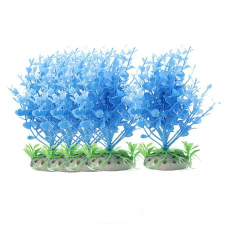 Fish Tank Aquarium Plastic Plant Manmade Underwater Landscape Blue Green 5pcs - image 3 of 3