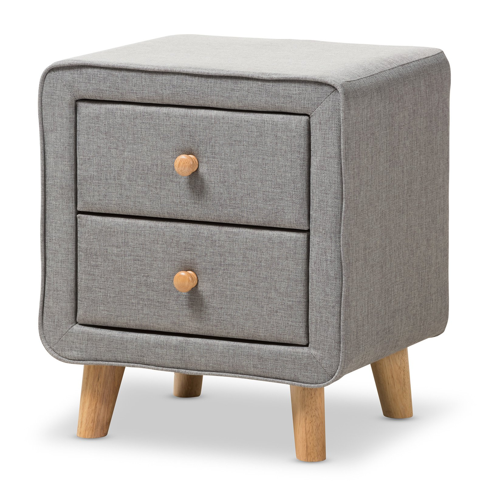 Baxton Studio Jonesy Mid-Century Grey Fabric Upholstered 2-Drawer Nightstand