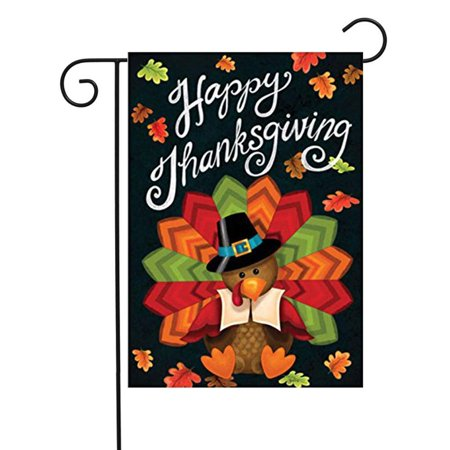 Thanksgiving Outdoor Decor (KissDate Double Sided Colorful Turkey Happy Thanksgiving Garden Flag, Perfect for Outdoor Garden Yard Decoration (12.5