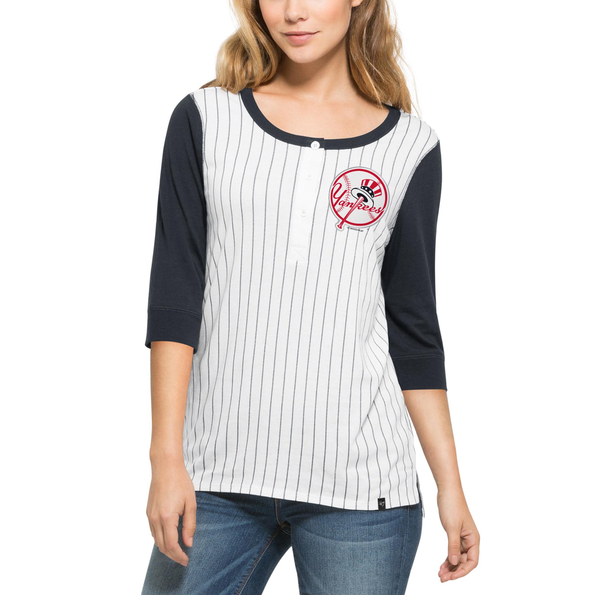 New York Yankees '47 Women's Triple Crown Henley Three-Quarter Sleeve T-Shirt - White/Navy