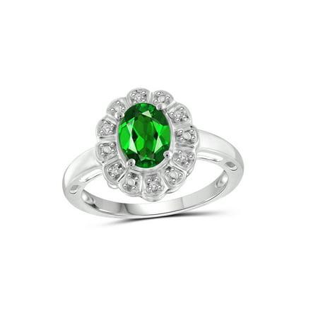 1.20 Carat T.G.W. Chrome Diopside Gemstone and 1/20 Carat T.W. White Diamond Ring