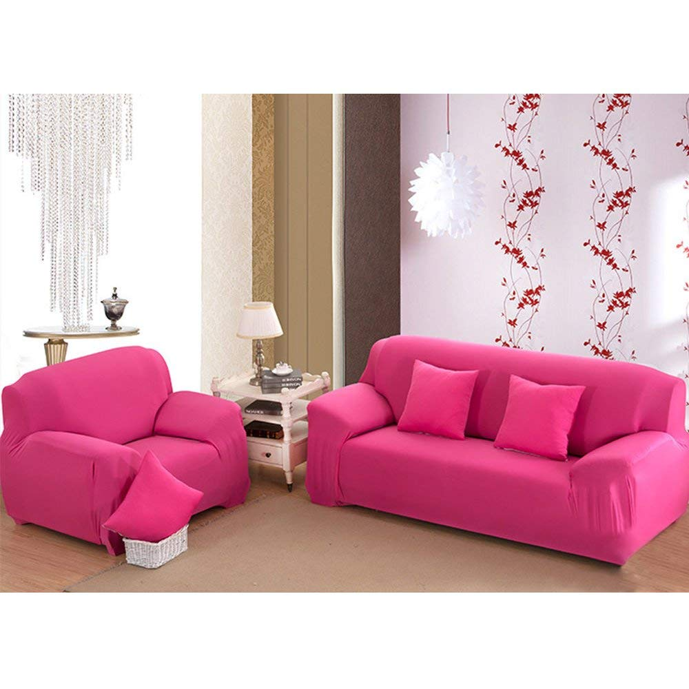 Hilitand Elastic Spandex 3 Seater Recliner Cover Couch Slipcover Sofa Slipcovers(Rose Red)