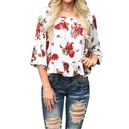 ZXZY  Women's Round Neck Half Sleeve With Frill Detail Printing Informal Top