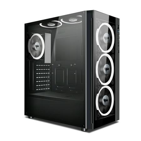 - Aigo ATX Mid Tower Acrylic Panel Gaming Computer PC Case Black Desktop Shell USB 3.0 Port (Black Technology)