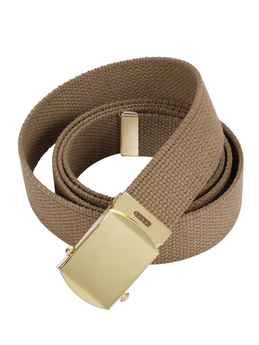 Cotton Military Web Belt with Brass or Chrome Buckle