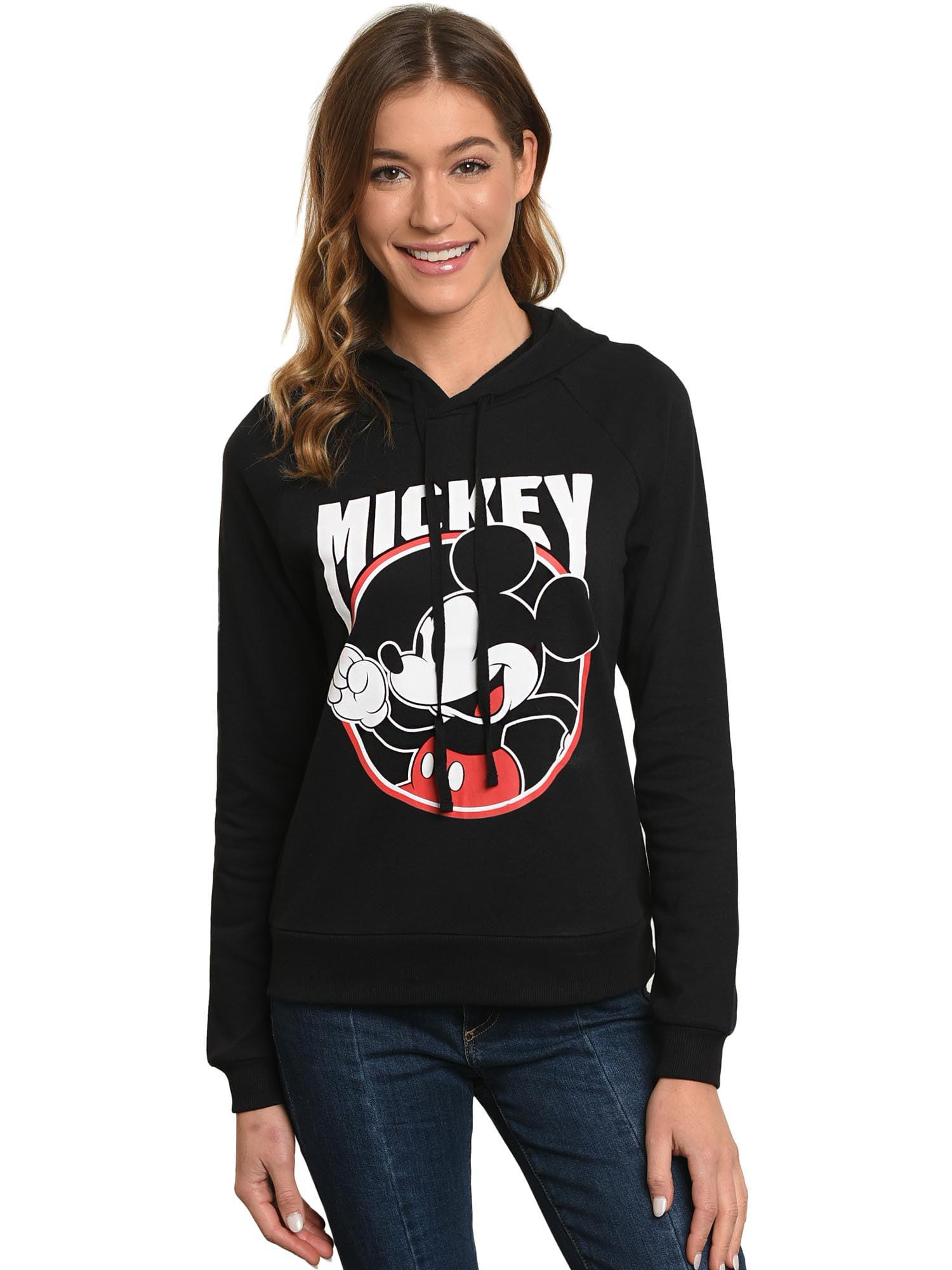Juniors Mickey Mouse 28 Hoodie Sweatshirt - Black Front & Back