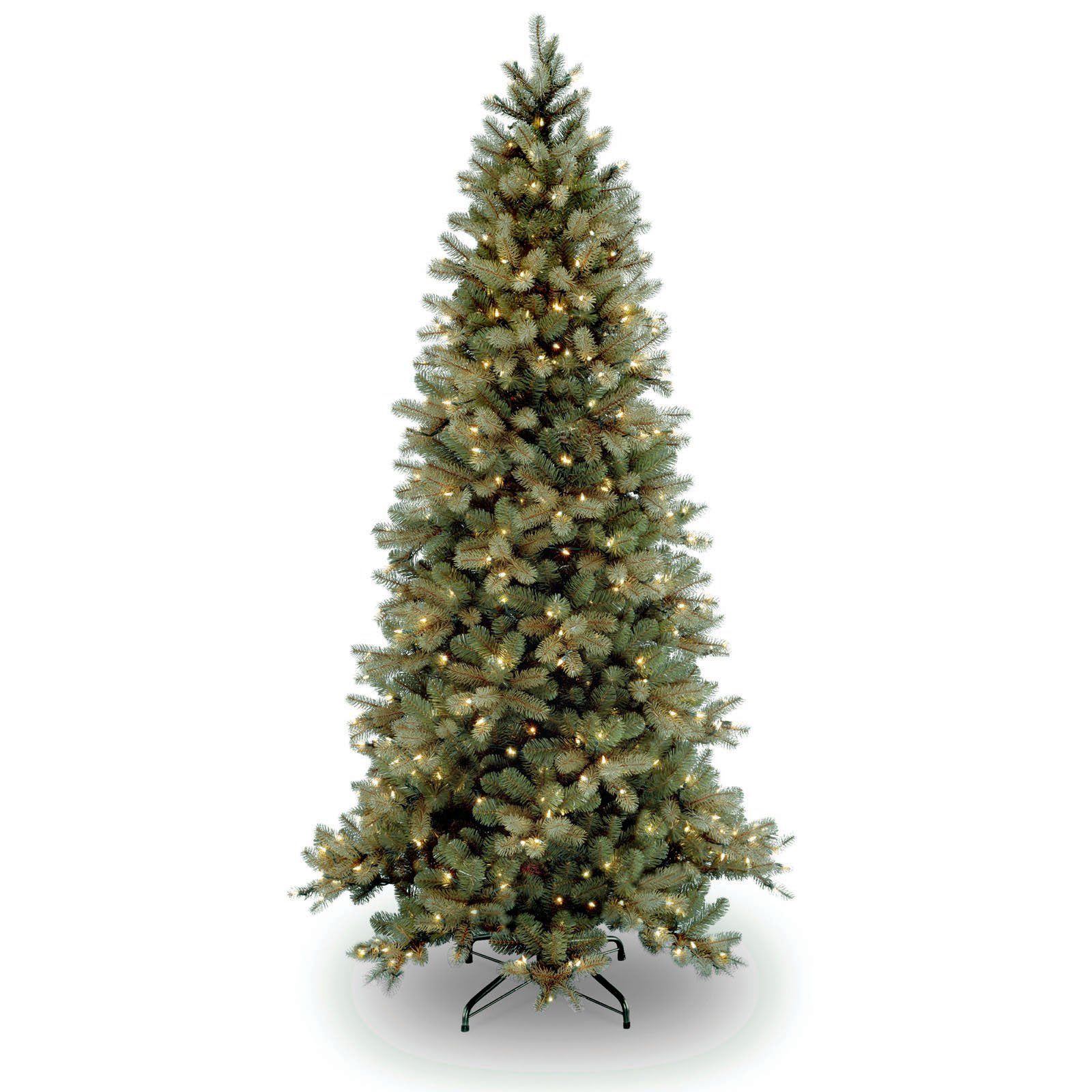 "National Tree Pre-Lit 7-1/2' ""Feel-Real"" Downswept Douglas Slim Fir Hinged Artificial Christmas Tree with 600 Clear Lights"