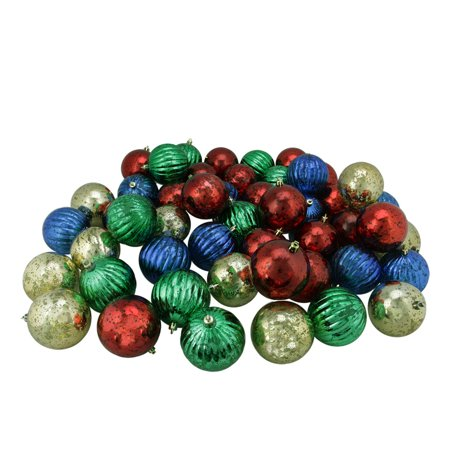50ct Shiny Red Blue Green And Gold Shatterproof Mercury Ball Christmas Ornaments 3 25 80mm