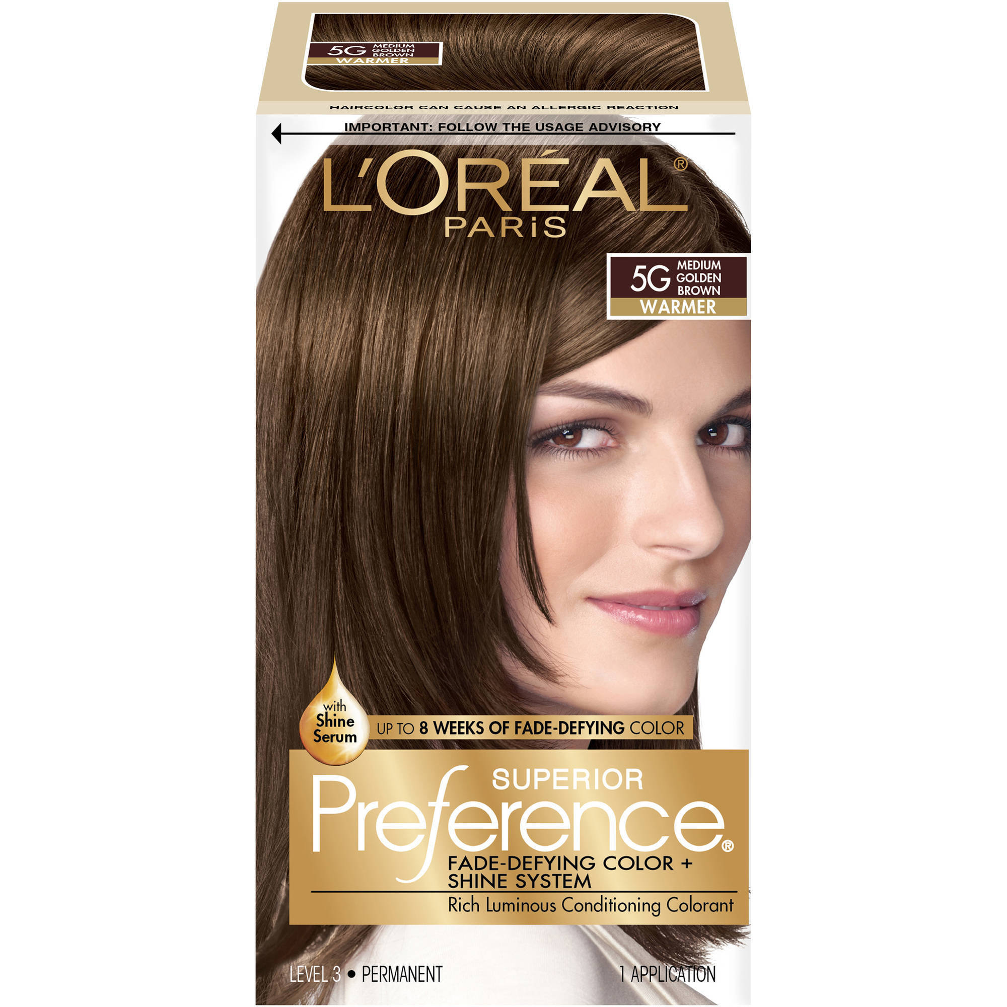 L'Oreal Paris Superior Preference Fade-Defying Color + Shine Hair Color, 5G Medium Golden Brown
