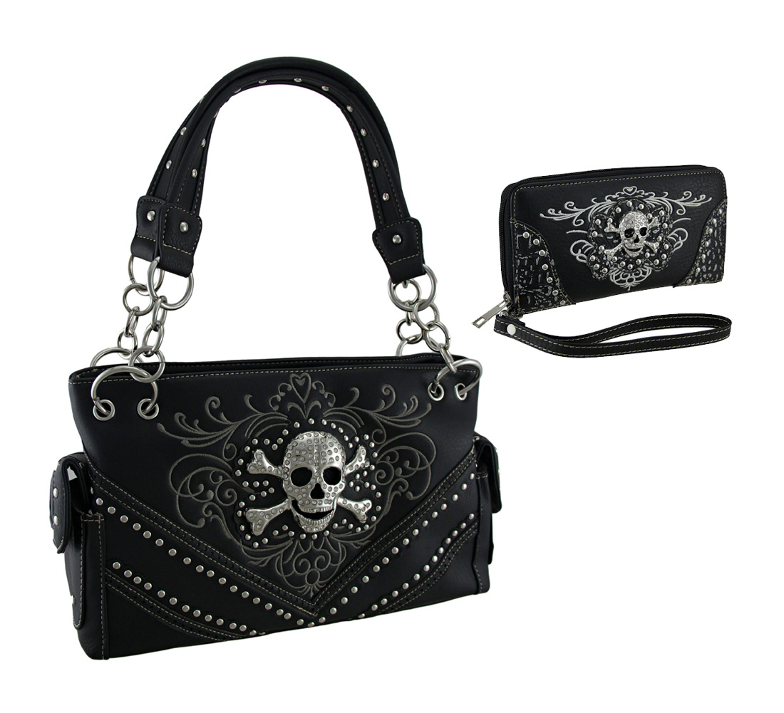 Western Style Concealed Carry Purse and Wallet Brown Trim Rhinestone Skull