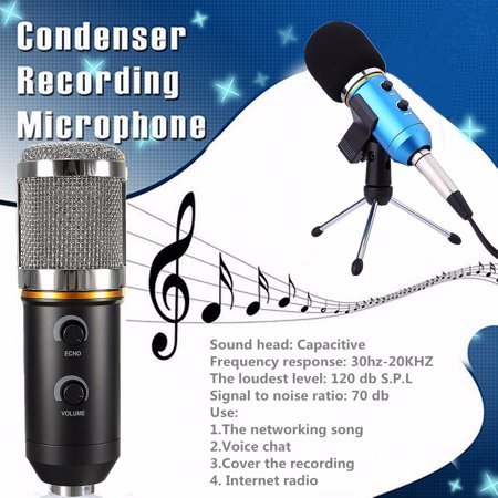 Audio USB Condenser Microphone Sound Recording Vocal Microphone Mic + Stand