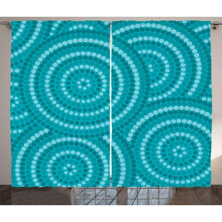 Teal Decor Curtains 2 Panels Set, Abstract Aboriginal Dot Painting  Australian Indigenous Folk Artwork Circle Shapes, Living Room Bedroom  Accessories, ...