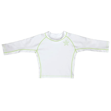 Iplay Long Sleeve Rashguard Top, Swim Shirt or Sun Shirt for Best Sun Protection Rash Guard UPF 50+ T-Shirt UPF50+ Unisex for Baby Boys or Girls Swimming or Playing -White with Lime Green Toddler