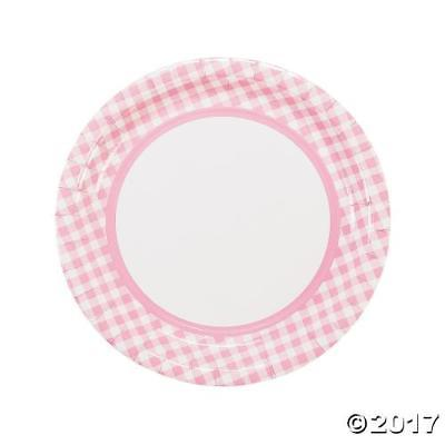IN-13721413 Light Pink Gingham Paper Dinner Plates  sc 1 st  Walmart : light dinner plates - pezcame.com