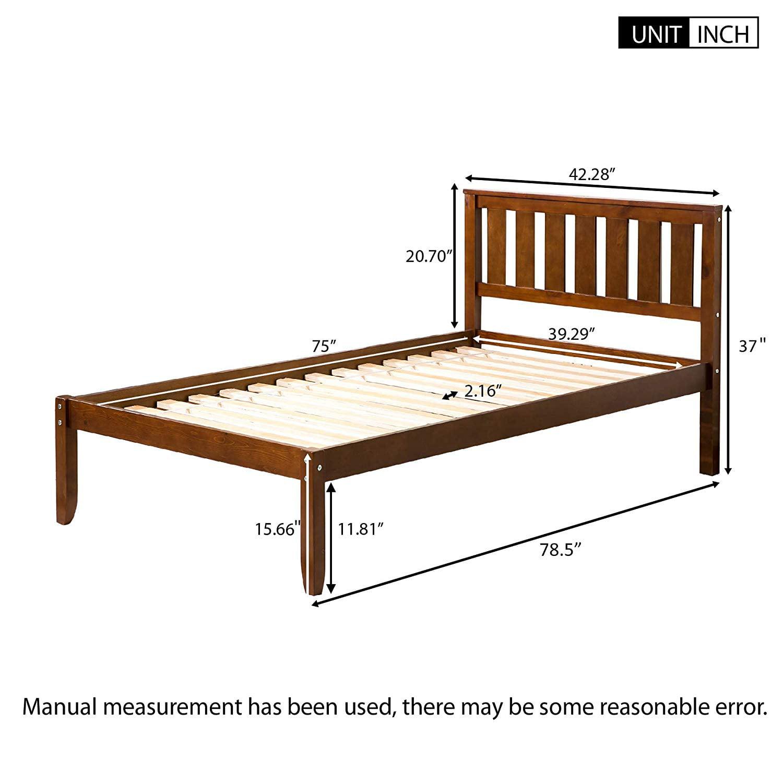 Beds Bed Frames Home Garden Twin Wooden Platform Wood Bed Frame With Wood Mattress Foundation Slat Support