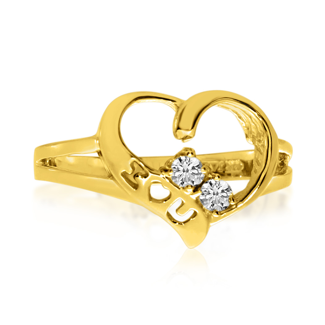 14K Yellow Gold I Love You Two-Stone Diamond Ring by