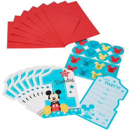 Mickey Mouse 1st Birthday Party Invite Postcards 8ct