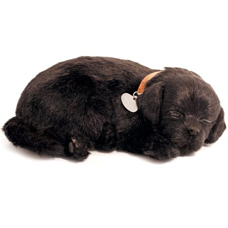 Perfect Petzzz Black Labrador Breathing Puppy Dog Plush Set w/ Carrier Bed