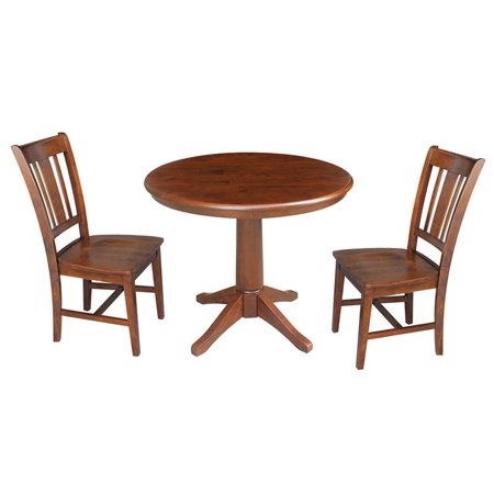 Outstanding 36 Round Top Pedestal Table With 2 Chairs Black Cherry 3 Piece Set Espresso Home Remodeling Inspirations Genioncuboardxyz
