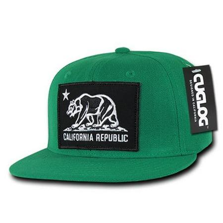 Cuglog Snapbacks C22-KEL Cali Bear Patch Caps - Kelly
