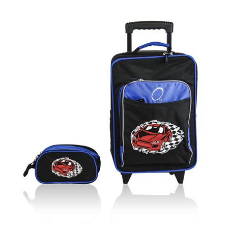 O3 Obersee Kids Racecar 2-piece Carry On Upright and Toiletry Bag Set