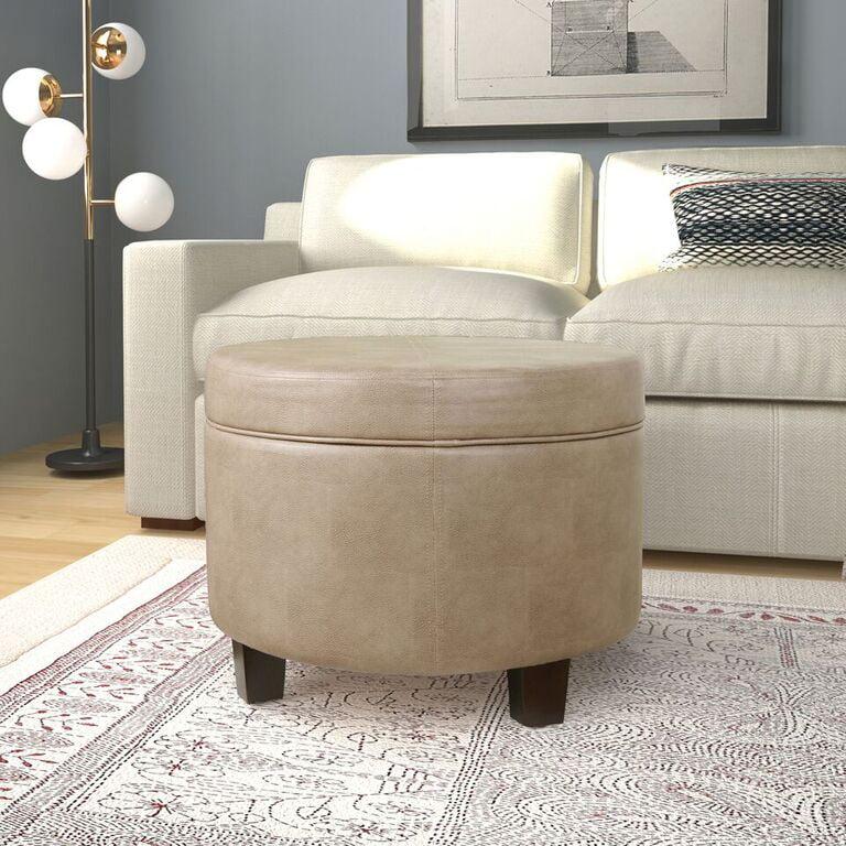 HomePop Round Faux Leather Storage Ottoman