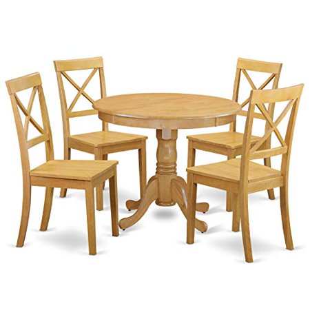 ANBO5-OAK-W 5 Pc Kitchen table set with a Dining Table and 4 Wood Seat Chairs in Oak ()