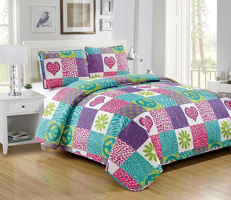 Fancy Linen 4pc Full Bedspread Striped Butterfly Flowers Pink Reversible New