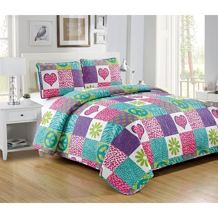 Fancy Linen 3pc Full Bedspread Quilt Pink Purple Teal Heart Flower Peace Sign New