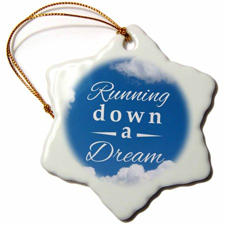 3dRose Running down a Dream typography text on sky blue - Gifts for runners - running race racing marathon, Snowflake Ornament, Porcelain, 3-inch ()