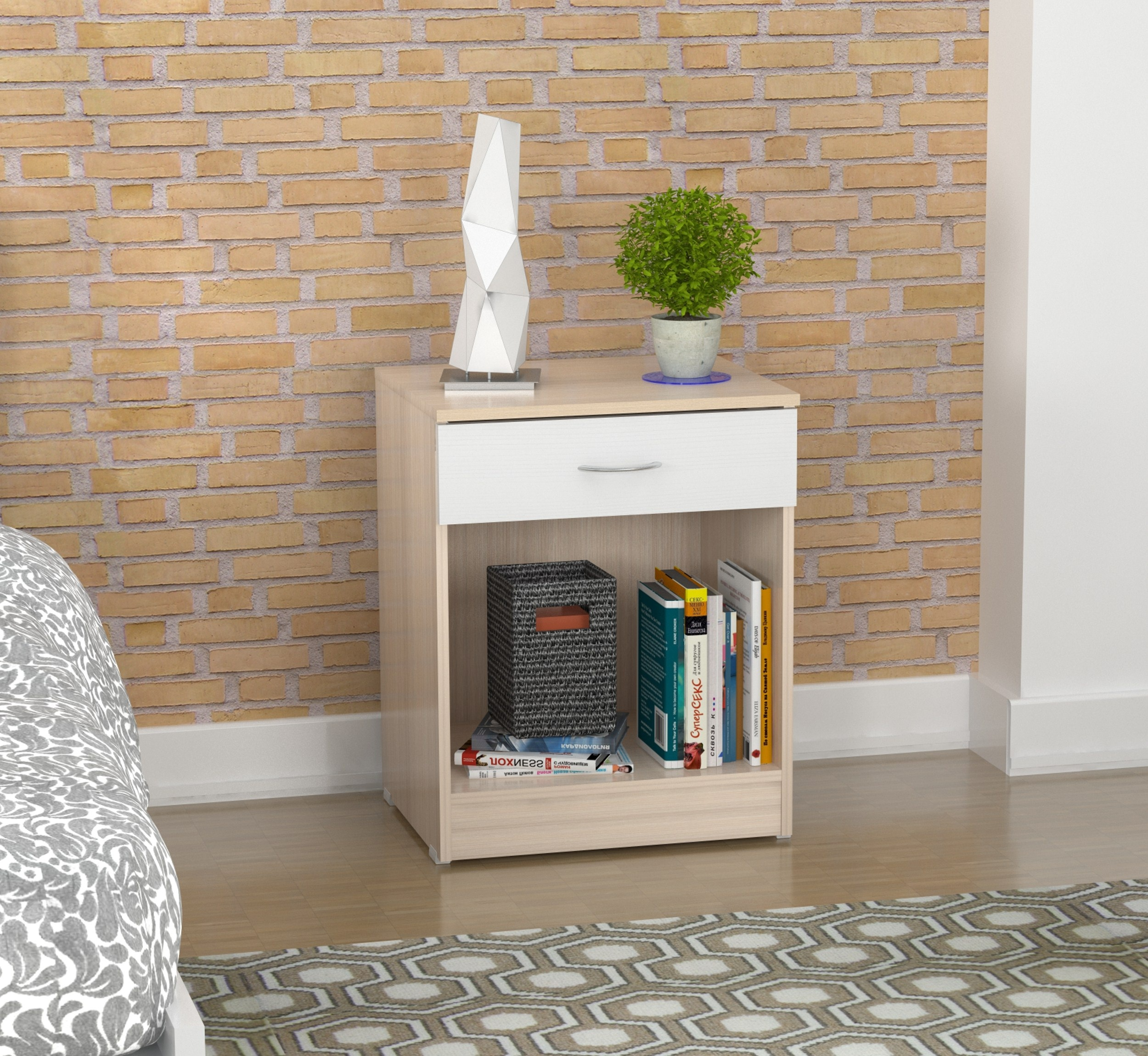 Inval Contemporary Laricina-white Night Stand