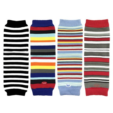 Colorful Baby Leg Warmers - Wrapables® Colorful Baby Leg Warmers (Set of 4), Black, Blue Red Stripes