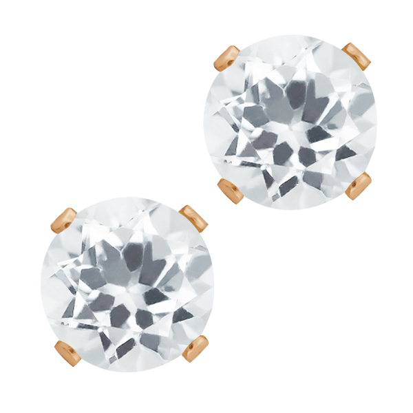 1.40 Ct Round Shape White Quartz Rose Gold Plated Silver Stud Earrings