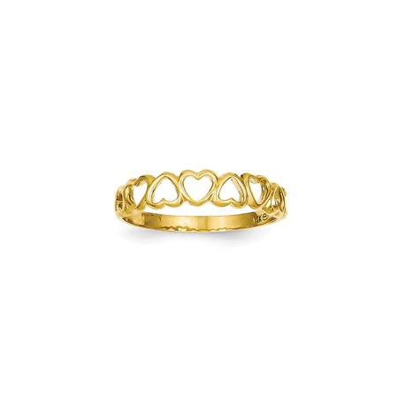 Solid 14k Yellow Gold High Polished Heart Wedding Band Ring (4mm) - Size 4